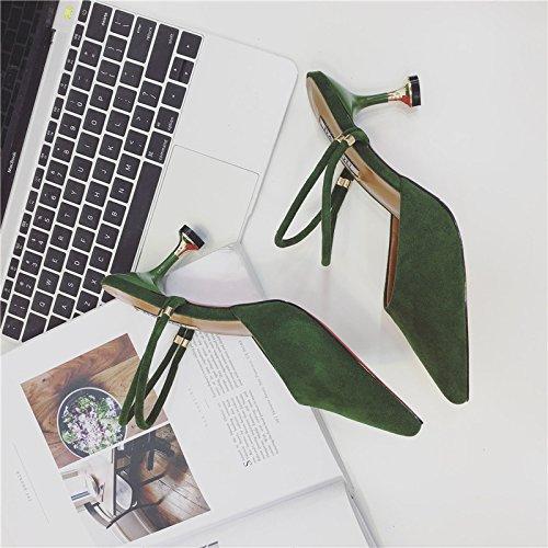 Fankou Fine Avec Des Sandales D'été Baotou Demi-pantoufles Mode Féminine, Des Vêtements Pointus Sexy Haut Talon Cool Glisser Et, 38, Vert