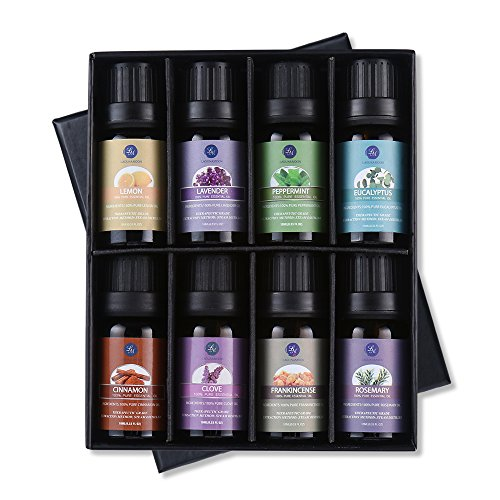 Top 8 Essential Oils Set,Nature Therapeutic Grade Aromatherapy Oils,Lavender,Eucalyptus,Cinnamon,Frankincense,Clove ,Rosemary,Peppermint,Lemon Essential Oils