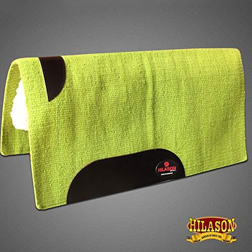 (HILASON Made in USA Western New Zealand Wool Gel Saddle Blanket Pad Lime)