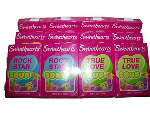Sweet Hearts Sour Conversation Candy Valentine 12 (.9 oz Boxes-Images Vary)