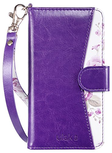 ULAK iPhone 8 Case, iPhone 7 Case, Premium PU Leather iPhone 8 Wallet Case with Kickstand Card Holder ID Slot and Hand Strap Shockproof Protective Cover for Apple iPhone 7/8 4.7 Inch Purple