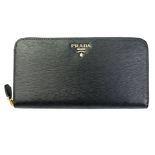 Prada Women's Black Leather Long Wallet 1ml506 Vitello Move Nero Zip Around (Prada Long Wallet)