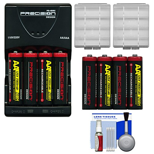 Charger Voltage Rapid ((8) Precision Design AA 2900mAh NiMH Rechargeable Batteries & Charger + Cases + Cleaning Kit for Canon Powershot, Nikon Coolpix, Sony CyberShot, Kodak, Fuji Finepix, Panasonic Lumix, Olympus Cameras)