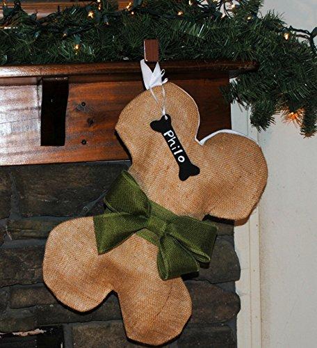 Burlap Dog Bone Christmas Holiday Stocking Olive Green Bow & Personalized Name Tag