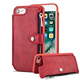 Aearl iPhone 7 Zipper Wallet Case,iPhone 8 Leather Case with Card Holder,Apple iPhone 8 7 Flip Folio Credit Card Slot Money Pocket Magnetic Detachable Buckle Wallet Phone Case for Women Men-Red