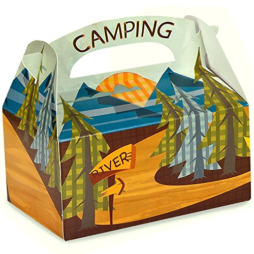 Let's Go Camping Party Favor Boxes for these Fun Camping Wrapping Paper And Creative Gift Wrap Ideas