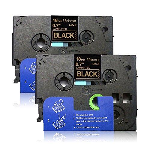 Unismar 2 Pack Compatible for Brother P-Touch Laminated TZe-344 TZe344 TZe 344 TZe TZ Label Tape for PT-1300 PT-1400 PT-1500 PT-1500PC Label Maker, 3/4 x 26.2(18mm x 8m), TZe-344 Gold on Black
