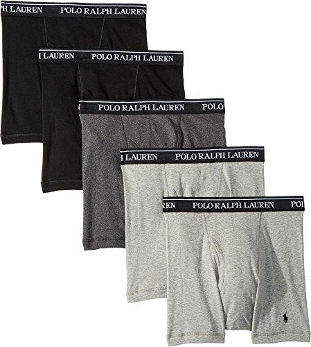 Polo Ralph Lauren Men's Classic Fit w/Wicking 5-Pack Boxer Briefs 2 Andover/1 Madison/2 Black Large (Boxer Lauren Polo Ralph)