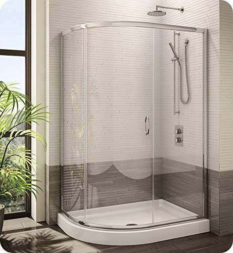 Fleurco FA483-11-65 Signature Capri Half Round Frameless Curved Glass Sliding Shower Door in Chrome/Prism Glass