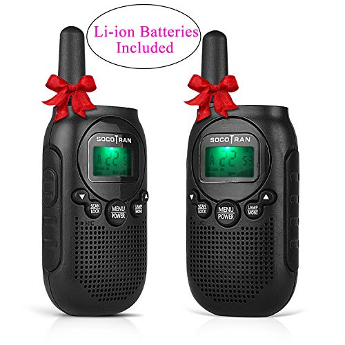 (Walkie Talkies License Free Two-Way Radios for Kids and Adults Portable Mini 2 Way Radios with Rechargeable Li-ion Battery 5 Miles 22 CH 0.5W Perfect for Outdoor Activities Black 2)