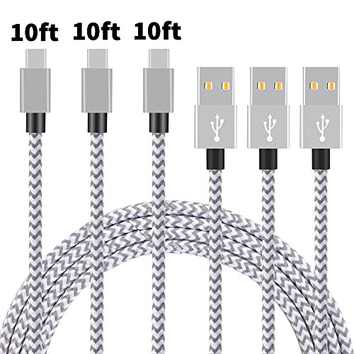 Type C Cable, Arukas 3Pack 10ft Nylon Braided USB C Data & Charging Cable with Aluminum Connector for Galaxy S8, S8+, MacBook, Nintendo Switch, Sony XZ, LG V20 G5 (3p 10ft sliver white) (Samsung Galaxy Alpha Silver)