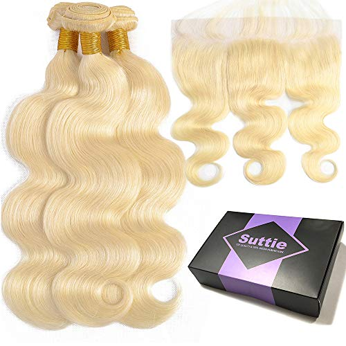 Suttie 613 Platinum Blonde Body Wave Real Hair Bundles Pre Plucked Frontal Lace Human Hair with Baby Hair -