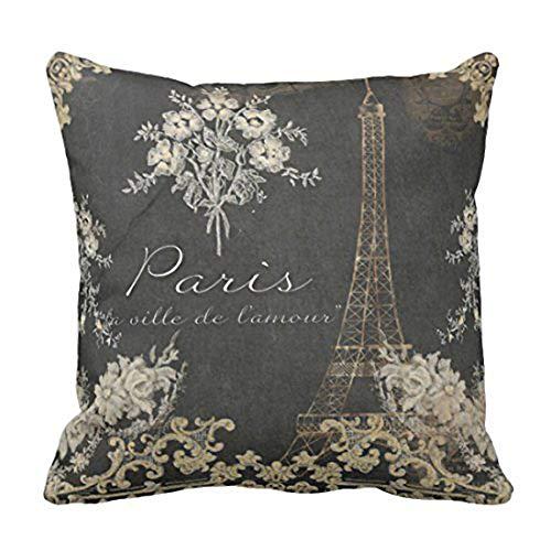 Emvency Throw Pillow Cover Black Vintage Paris City of Love Eiffel Tower Chalkboard Tan Antique Decorative Pillow Case Home Decor Square 18 x 18 Inch Pillowcase (Pillow French)