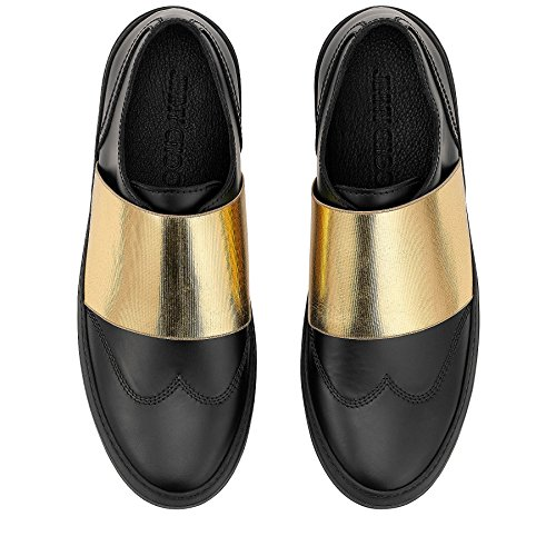 JIMMY-CHOO-Black-Matte-Calf-and-Gold-Metallic-Elastic-Low-Tops-Size-10-US-43-EU
