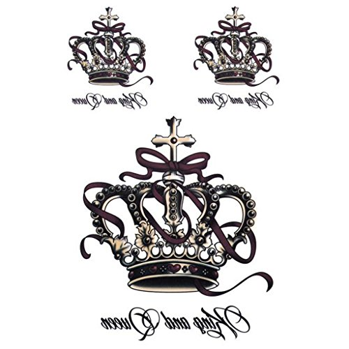 Waterproof Removable Tattoo Stickers - 3D Tattoo Stickers Temporary Tattoo Stickers Body Arm Art Sticker King And Queen Crown By Sixsons