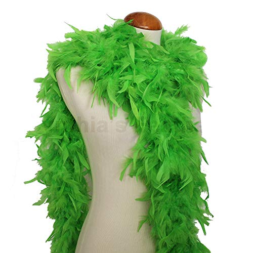 Cynthia's Feathers 65g Chandelle Feather Boas Over 80 Colors & Patterns to Pick Up (Bright Green)