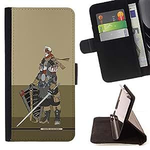 Momo Phone Case / Flip Funda de Cuero Case Cover - Caballero Guerrero Beige Armadura Espada - HTC Desire 626