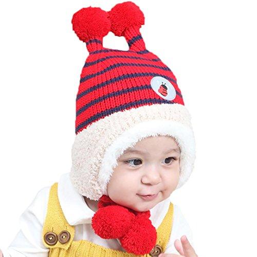 Baby Beanie, Misaky Boys Girls Earflap Hat Stripe Cotton Hat Child Knitting Hats (# A)