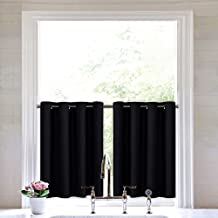 Black Small Window Valance Curtain - Thermal Insulated Home Decor Blackout Grommet Tier Curtain Drapes by NICETOWN (52W by 24L Inches, Black, 2 Pieces)