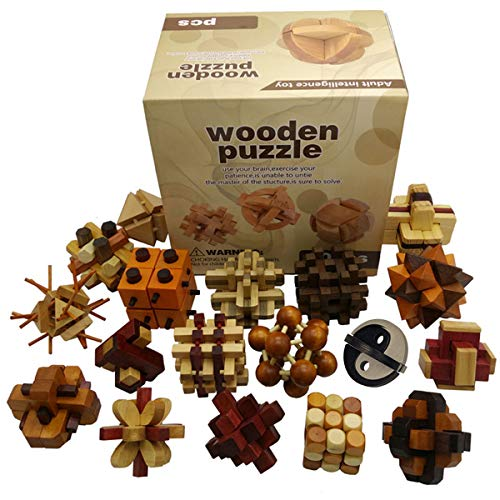 (Joyeee 3D Wooden Brain Teaser Puzzle Diamond Cube Interlocking Jigsaw Puzzles for Teens and Adults #2 - Challenge Your Logical Thinking - Ideal Gift and Decoration Idea (Set of)