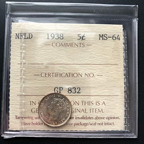 1938 NEWFOUNDLAND SILVER 5 CENTS COIN ***ICCS GRADED MS 64*** TRENDS AT $600 (Newfoundland Coin)