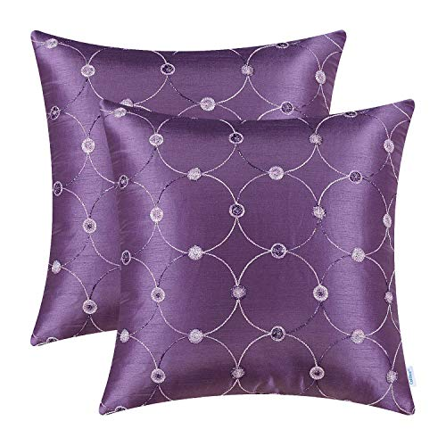 CaliTime Pack of 2 Cushion Covers Throw Pillow Cases Shells for Sofa Couch Home Decoration Modern Simple Circles Rings Dots Geometric Chain Embroidered 18 X 18 Inches Purple