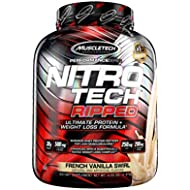 MuscleTech Nitro-Tech Ripped Lean Protein Powder + Weight Loss Formula, Whey Protein Shake Mix, 30 Grams Protein, 6.6g BCAA, Stimulant-Free, Tastes Great, French Vanilla Swirl, 4 Pounds (42 Servings)