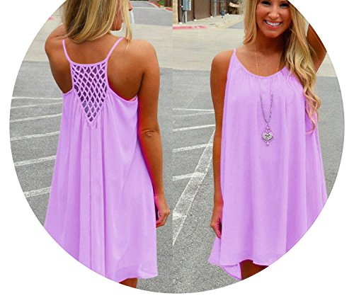 shine-hearty-dress Women Beach Fluorescence Chiffon Women Dress Plus Size Spaghetti Strap Sexy Dress,Purple,S ()