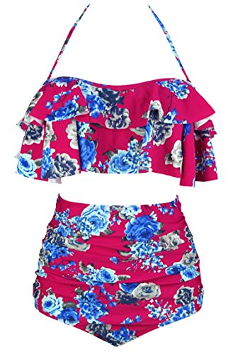 - COCOSHIP Burgundy Blue Cream Floral Vintage Boho Flounce Falbala High Waist Bikini Set Chic Swimsuit Cruise Swimwear S