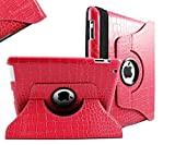 SANOXY SNX_IP-CASE 360 Degrees Rotating Stand Leather Smart Cover Case for Apple iPad 2, iPad 3, iPad 4, Crocodile Pink