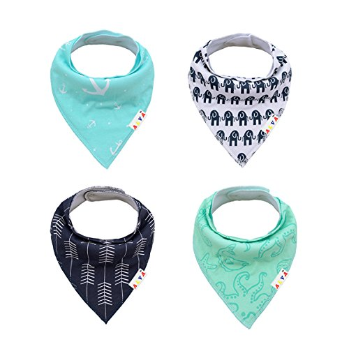 Amazon #LightningDeal 58% claimed: Alva Baby Designed Stylish Baby Bandana Bibs for Boys and Girls 4 Pack of Super Absorbent Baby Gift Settings