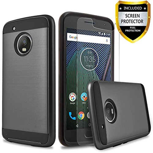 Moto G5 Plus Case, 2-Piece Style Hybrid Shockproof Hard Phone Cover with [Premium Screen Protector]+ Circlemalls Stylus Pen For Motorola G Plus 5th Generation ()