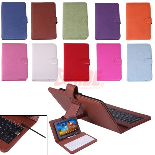 Leather Style Cover Case with USB Keyboard for 7