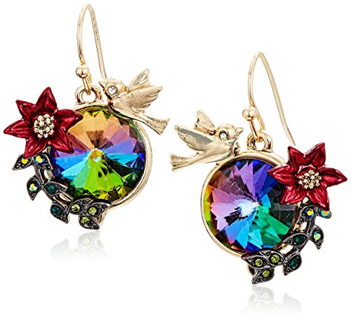 Johnsons Jewelry - Betsey Johnson Surreal Forest Bird and Flower Drop Earrings