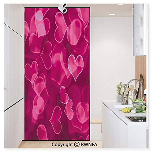 Window Film No Glue Glass Sticker Cute Sweet Heart Shapes on Blurry Background Romantic Valentines Day Design Static Cling Privacy Decor for Kitchen Bathroom 17.7x59.8inches,Magenta Hot Pink