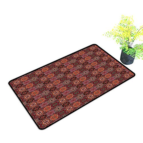Washable Doormat Moroccan Vintage Tile Design with Oval Motifs Ottoman Mandala Figures Ornamental W20 xL31 Machine wash/Non-Slip Green Vermilion Ruby ()