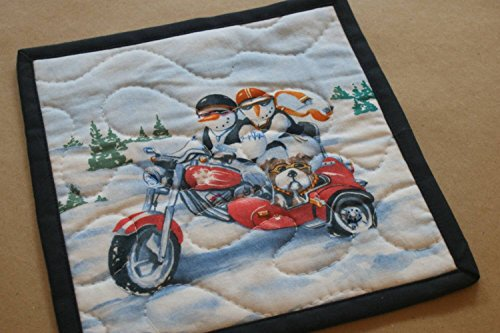 Snowman Couple Bulldog Motorcycle Mug Rug - Motor Rug