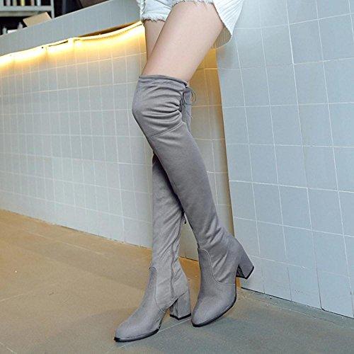 Boots Over Taoffen Zipper Women's Gray Knee t1Y5Uw