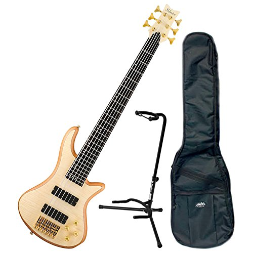 Schecter 6 String Stiletto Custom Electric Bass Natural w/DLX Gig Bag and Stand Stiletto Custom Electric Bass