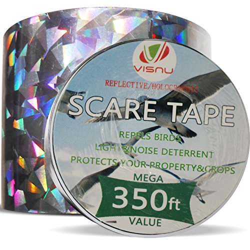Bird Repellent Devices -350ft x 2in Bird Repellent Scare Tape Holographic Bird Scare Ribbon, Double Side Bird (Ribbon Device Types)