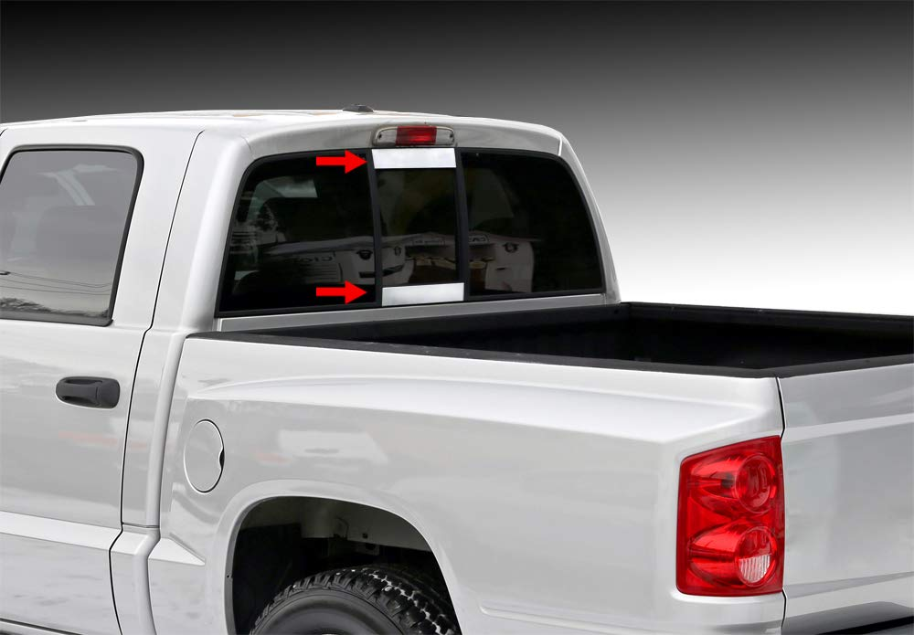 Tyger Auto Made in USA! Dodge Chrome Stainless Steel Trim Works with 02-08 Ram Rear Slider Window 2PC