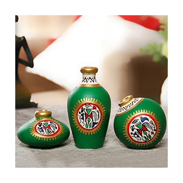 ExclusiveLane Warli Handpainted Miniature Terracotta Flower Vases Pots