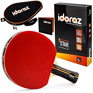 Idoraz Table Tennis Paddle Professional Racket – Ping Pong Racket with Carrying Case – ITTF Approved Rubber for Tournament Play
