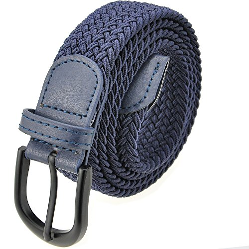 Braided Stretch Elastic Belt with Pin Oval Solid Black Buckle Leather Loop End Tip with 7 Sizes 12 Colors Men/Women/Junior (Large 36