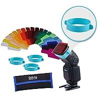 Selens Universal Flash Gels Filtro de iluminación - Kits de combinación para linterna de cámara (con dos bandas de geles extra nuevas)