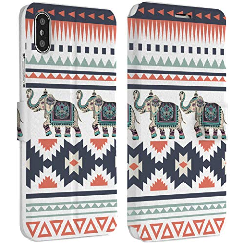 Tessellated Patterns - Wonder Wild Indian Elephant iPhone Wallet Case X/Xs Xs Max Xr 7/8 Plus 6/6s Plus Card Holder Accessories Smart Flip Hard Design Protection Cover Animals Oriental Ornament Traditional Decoration