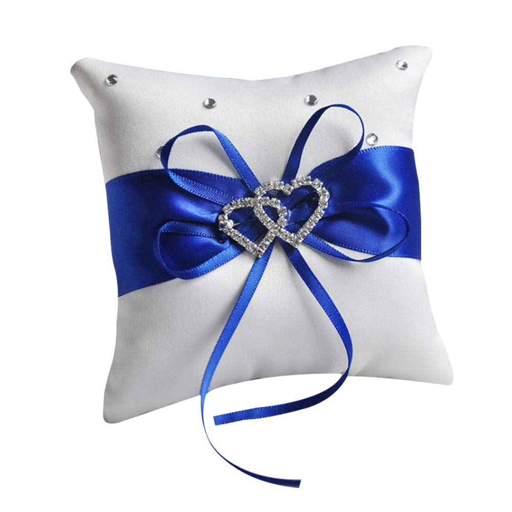 Zentto - Cojín para anillos de boda, diseño romántico, 10 x 10 cm (1 pieza), Cinta, azul, Altura 100 cm