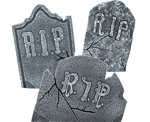 Set of 3 Large Crooked Leaning Weathered Ancient Style Tombstones Halloween Lawn Yard ()