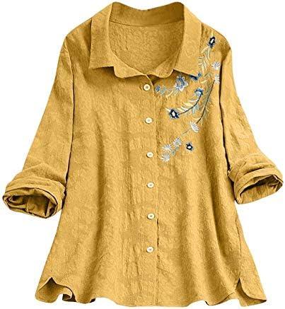 VJGOAL Camisas de Lino para Mujer Bordado de Moda Casual Camisetas de Manga Larga Primavera Verano Tallas Grandes Solapa Botones túnica Tops Blusa: Amazon.es: Ropa y accesorios
