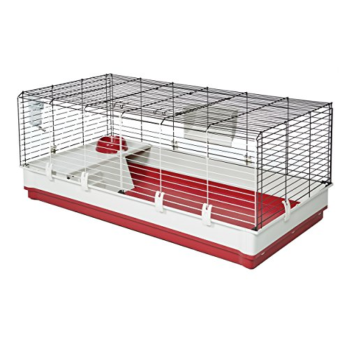 (MidWest Homes for Pets Deluxe Rabbit & Guinea Pig Cage, X-Large, White & Red)